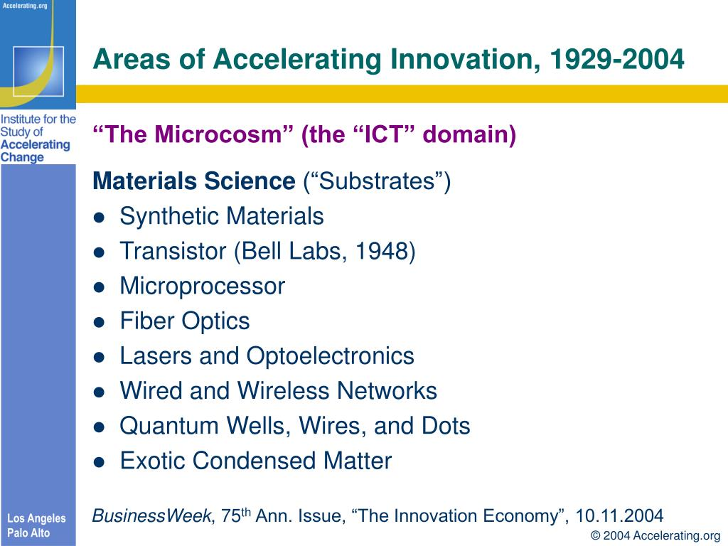 Areas of Accelerating Innovation, 1929-2004