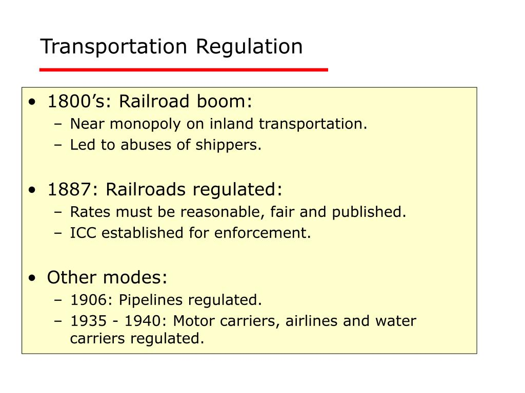 Transportation Regulation