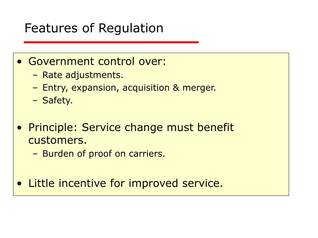 Features of Regulation