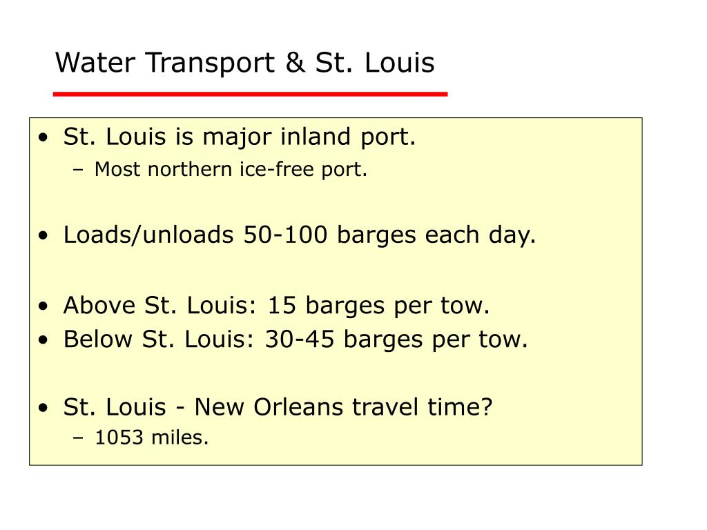 Water Transport & St. Louis
