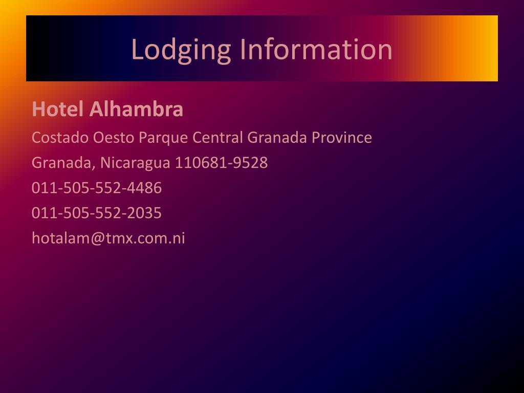 Lodging Information