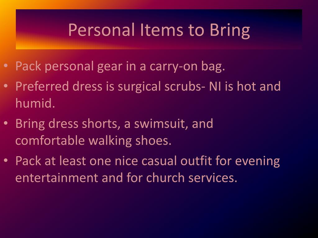 Personal Items to Bring