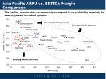 asia pacific arpu vs ebitda margin comparison
