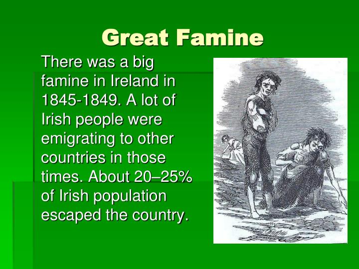 an overview of the country of ireland and its famine of 1845 1849 The irish famine – a summary catholics to bring emergency food into the country had halted the export of grain from ireland and fed its.