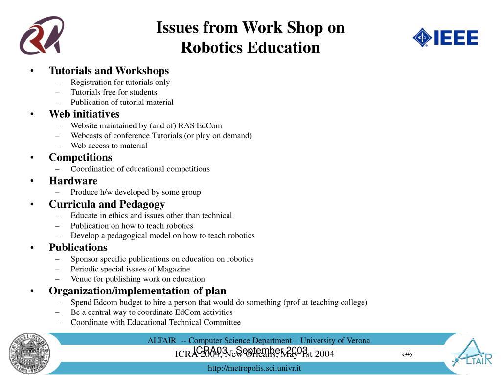 Tutorials and Workshops