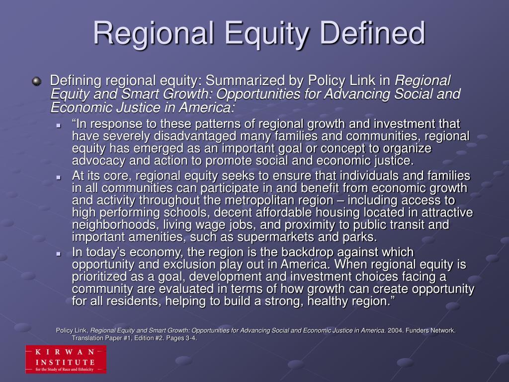 Regional Equity Defined