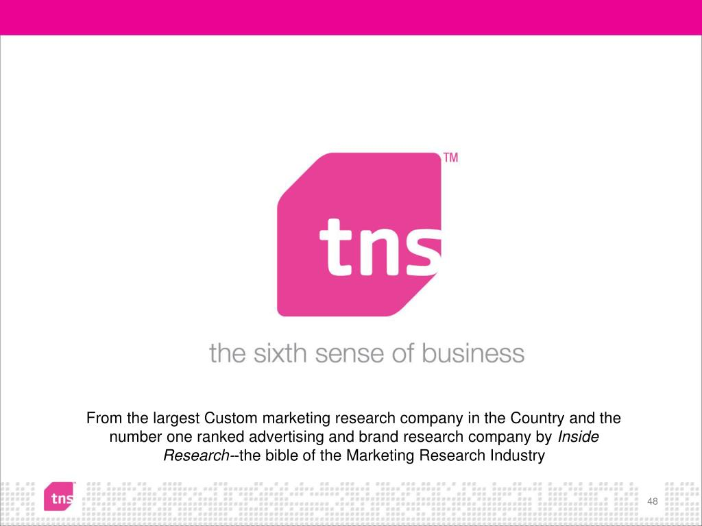 From the largest Custom marketing research company in the Country and the number one ranked advertising and brand research company by