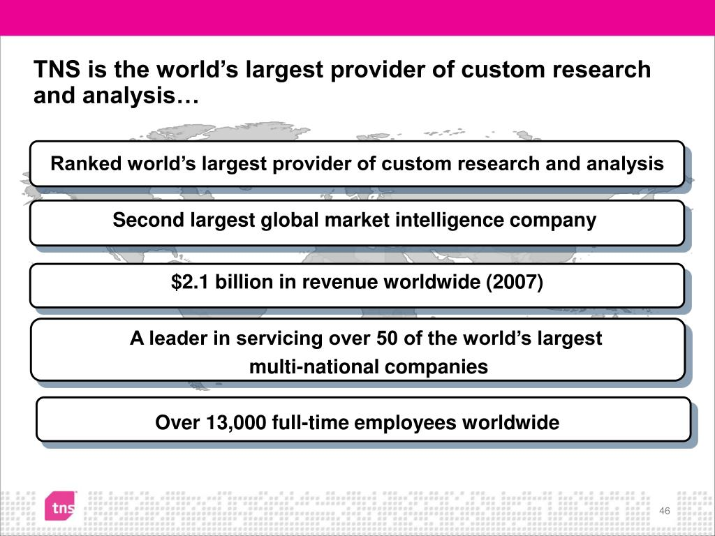 TNS is the world's largest provider of custom research and analysis…