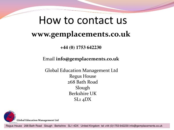 How to contact us