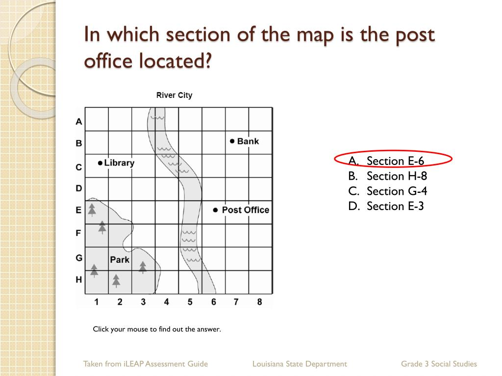 In which section of the map is the post office located?