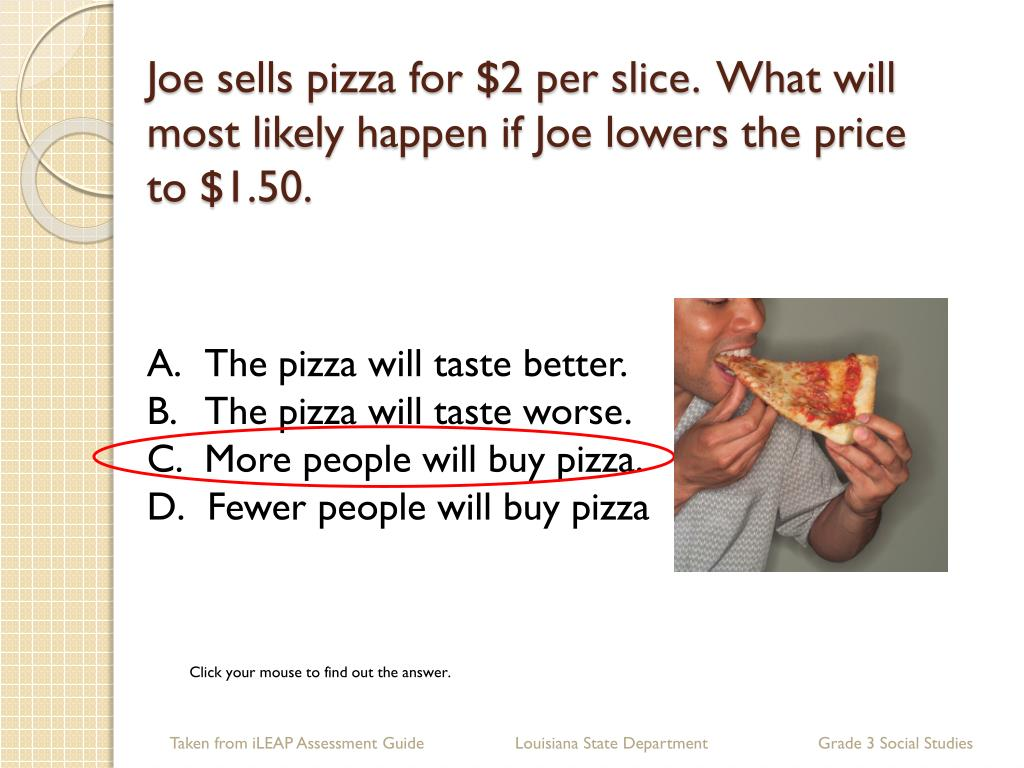 Joe sells pizza for $2 per slice.  What will most likely happen if Joe lowers the price to $1.50.