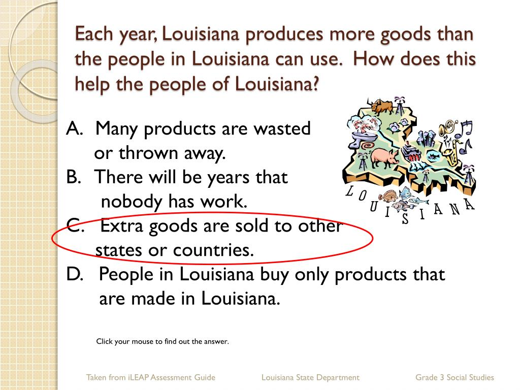 Each year, Louisiana produces more goods than the people in Louisiana can use.  How does this help the people of Louisiana?
