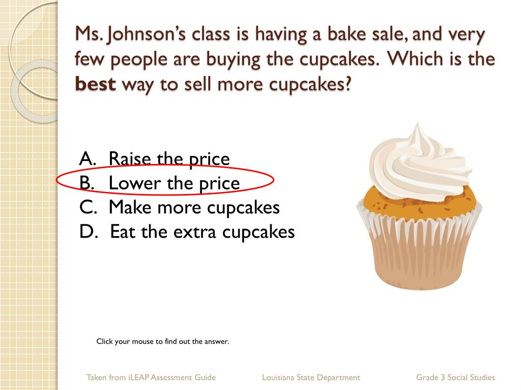 Ms. Johnson's class is having a bake sale, and very few people are buying the cupcakes.  Which is the