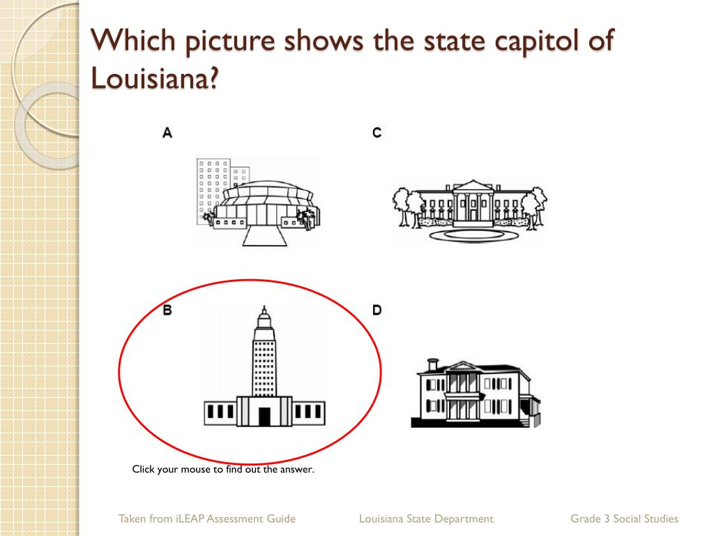 Which picture shows the state capitol of Louisiana?
