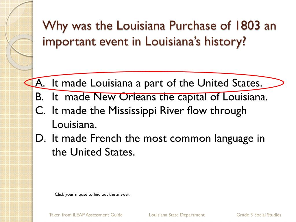 Why was the Louisiana Purchase of 1803 an important event in Louisiana's history?