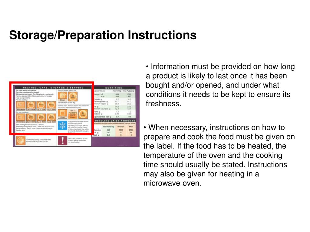 Storage/Preparation Instructions
