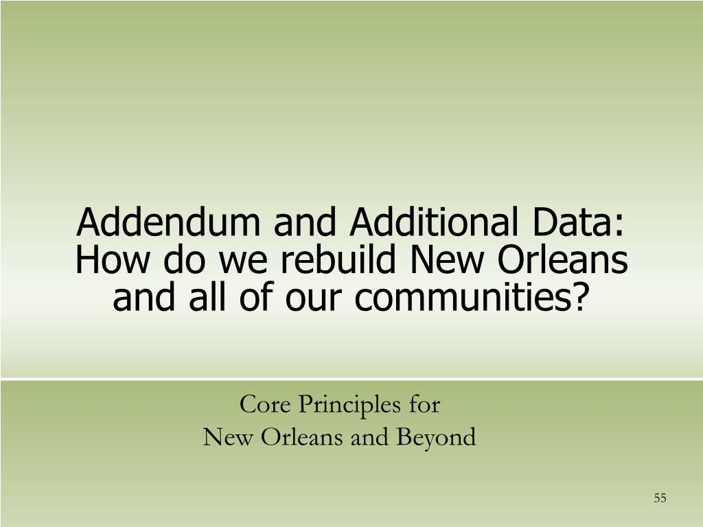 Addendum and Additional Data: