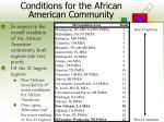 conditions for the african american community