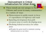 disinvestment in critical infrastructure for urban areas30