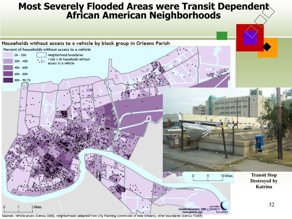 Most Severely Flooded Areas were Transit Dependent African American Neighborhoods