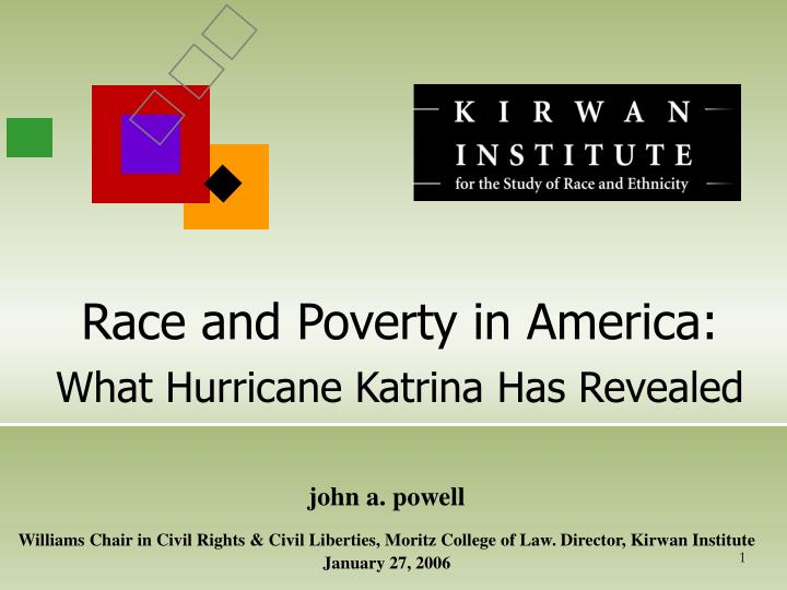 Race and poverty in america what hurricane katrina has revealed
