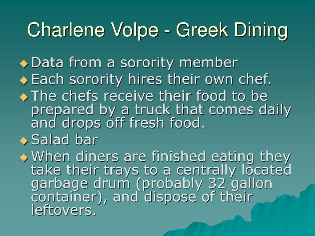 Charlene Volpe - Greek Dining