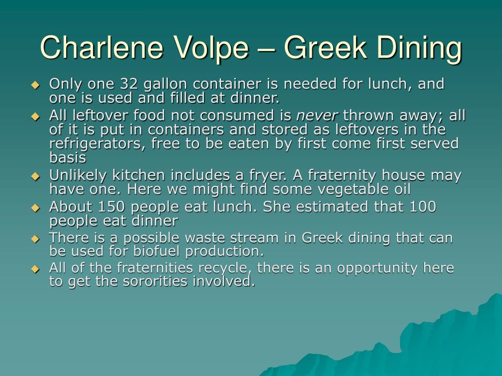 Charlene Volpe – Greek Dining
