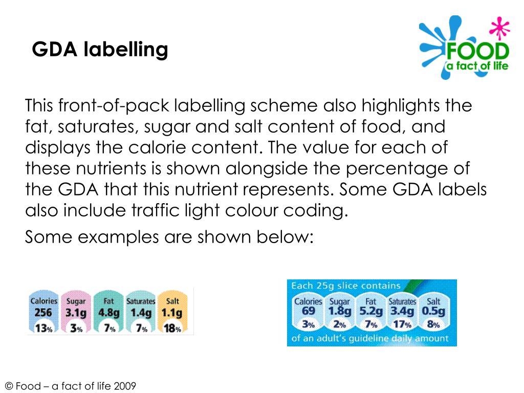 GDA labelling