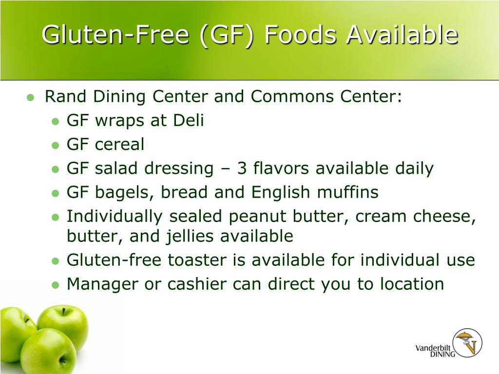 Gluten-Free (GF) Foods Available