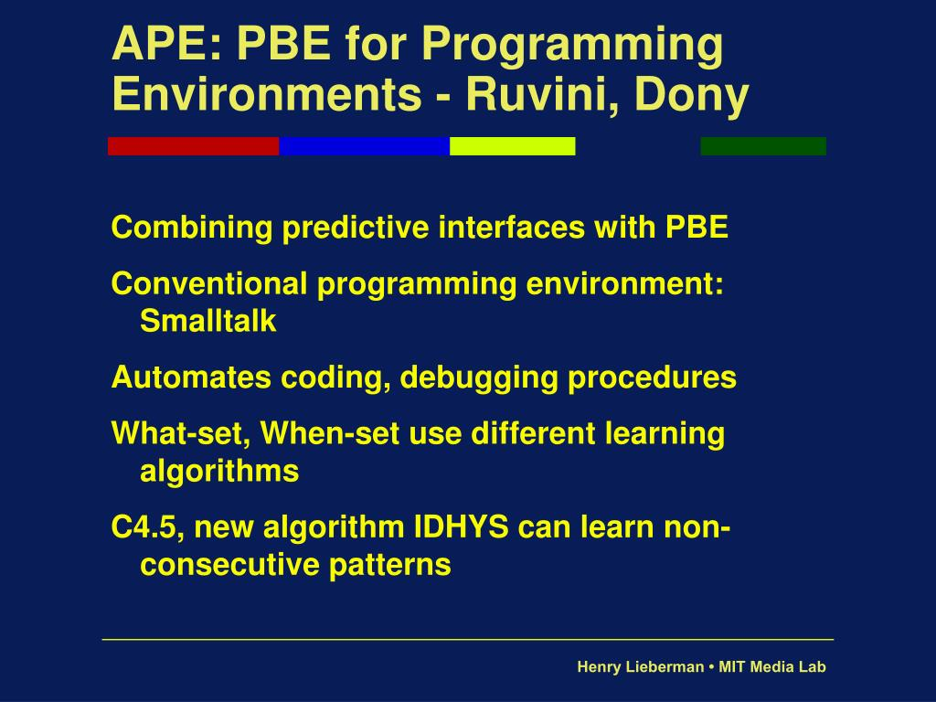 APE: PBE for Programming Environments - Ruvini, Dony