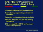 ape pbe for programming environments ruvini dony