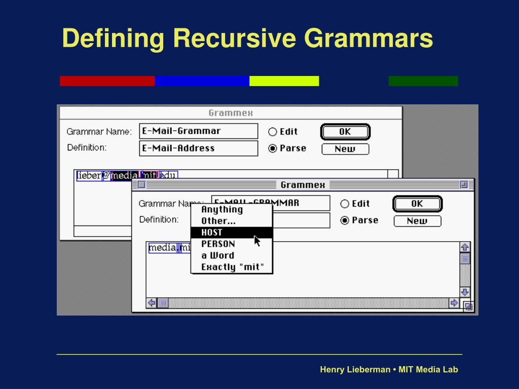 Defining Recursive Grammars