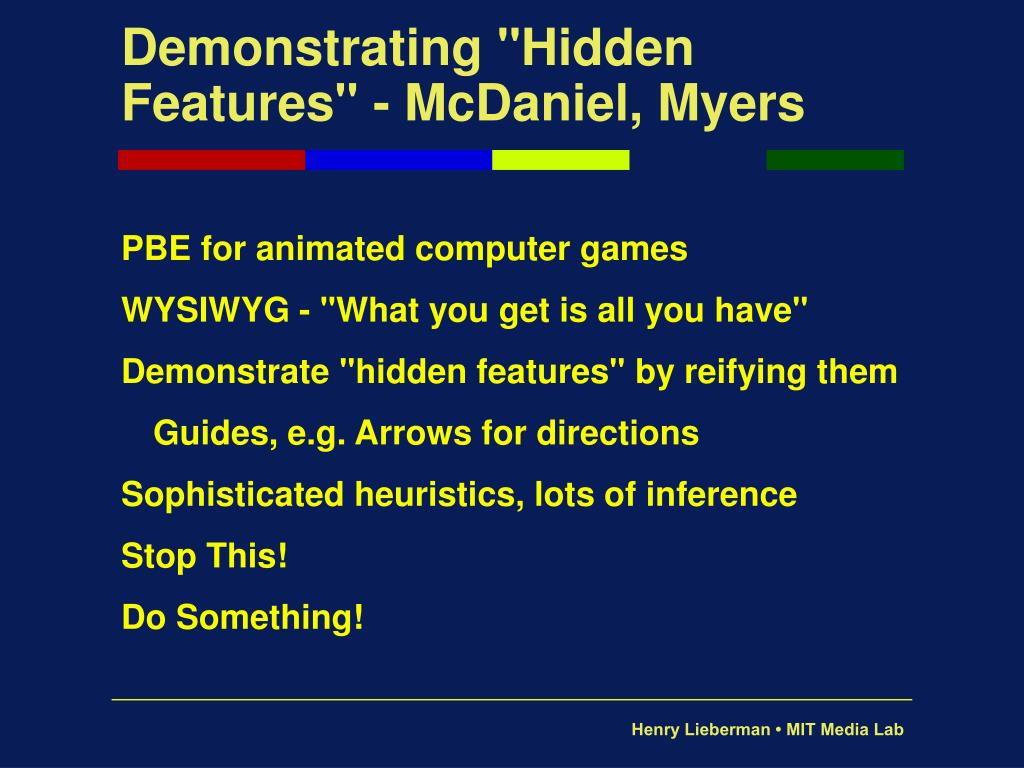 "Demonstrating ""Hidden Features"" - McDaniel, Myers"