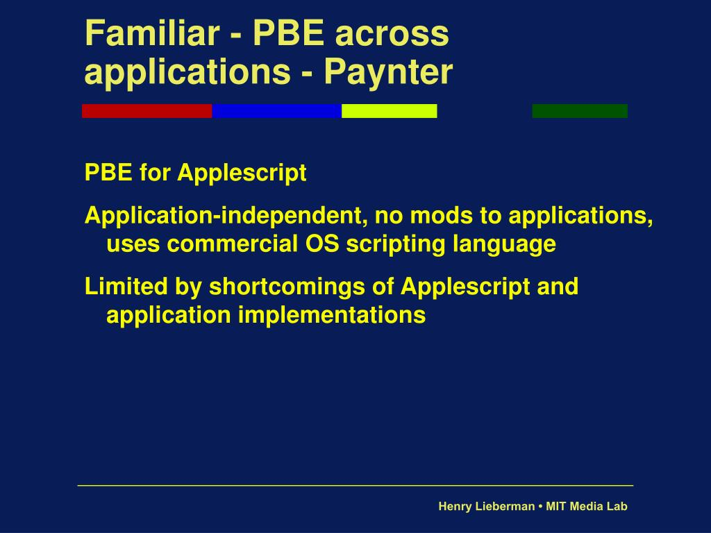 Familiar - PBE across applications - Paynter