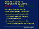 machine learning in programming by example