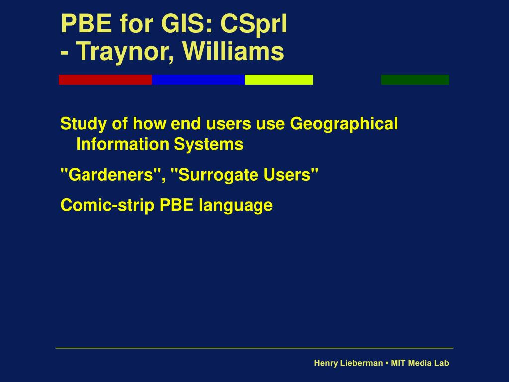 PBE for GIS: CSprl