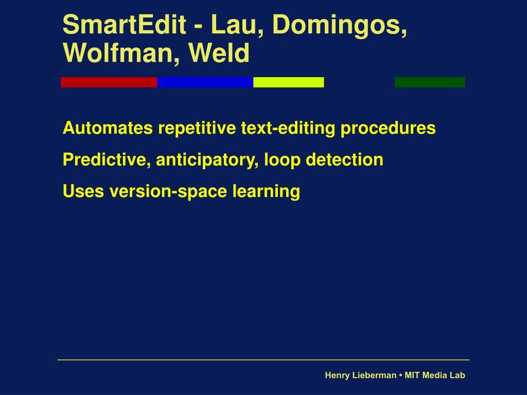 SmartEdit - Lau, Domingos, Wolfman, Weld