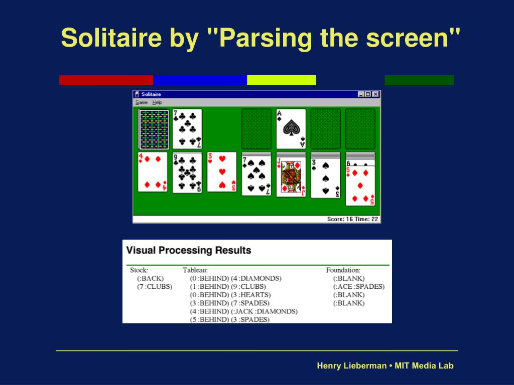 "Solitaire by ""Parsing the screen"""