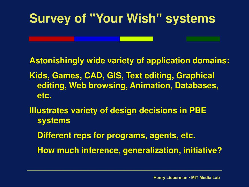 "Survey of ""Your Wish"" systems"