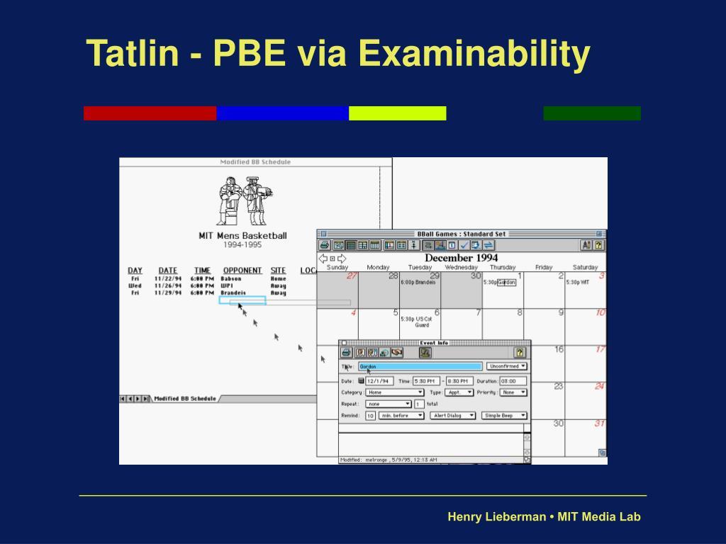 Tatlin - PBE via Examinability