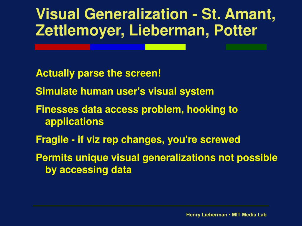 Visual Generalization - St. Amant, Zettlemoyer, Lieberman, Potter