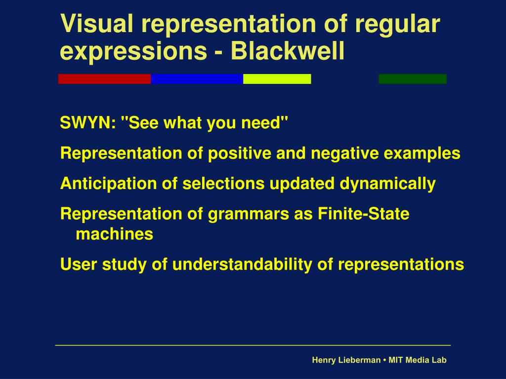 Visual representation of regular  expressions - Blackwell