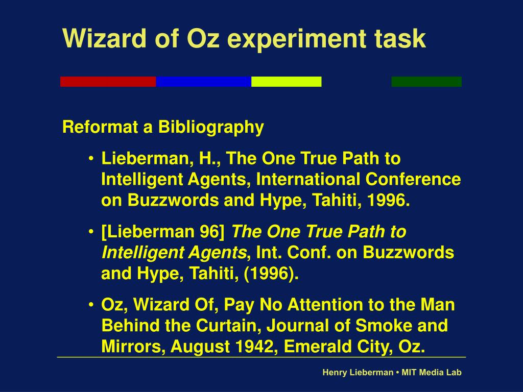 Wizard of Oz experiment task