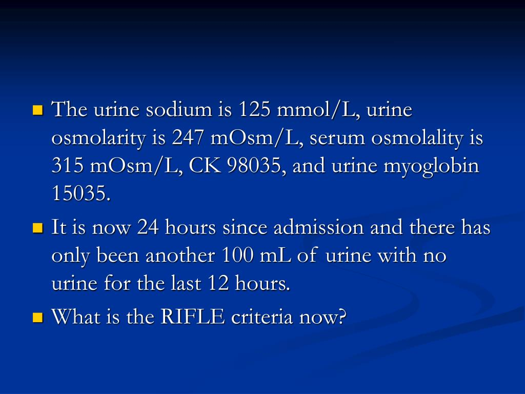 The urine sodium is 125 mmol/L, urine osmolarity is 247 mOsm/L, serum osmolality is 315 mOsm/L, CK 98035, and urine myoglobin 15035.