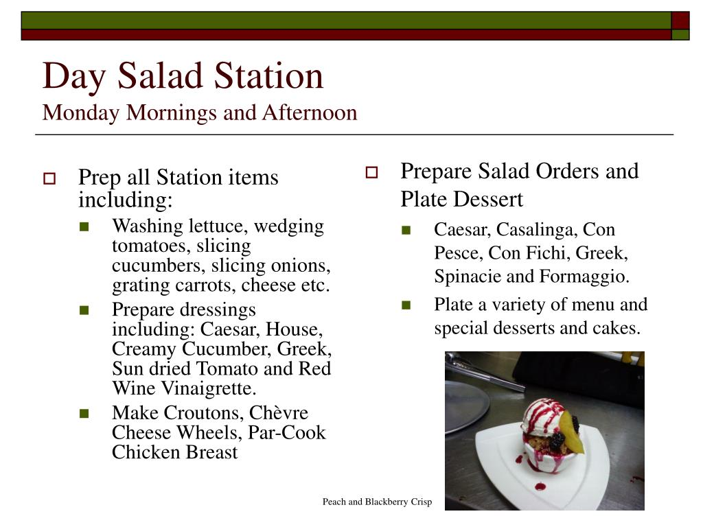 Prep all Station items including: