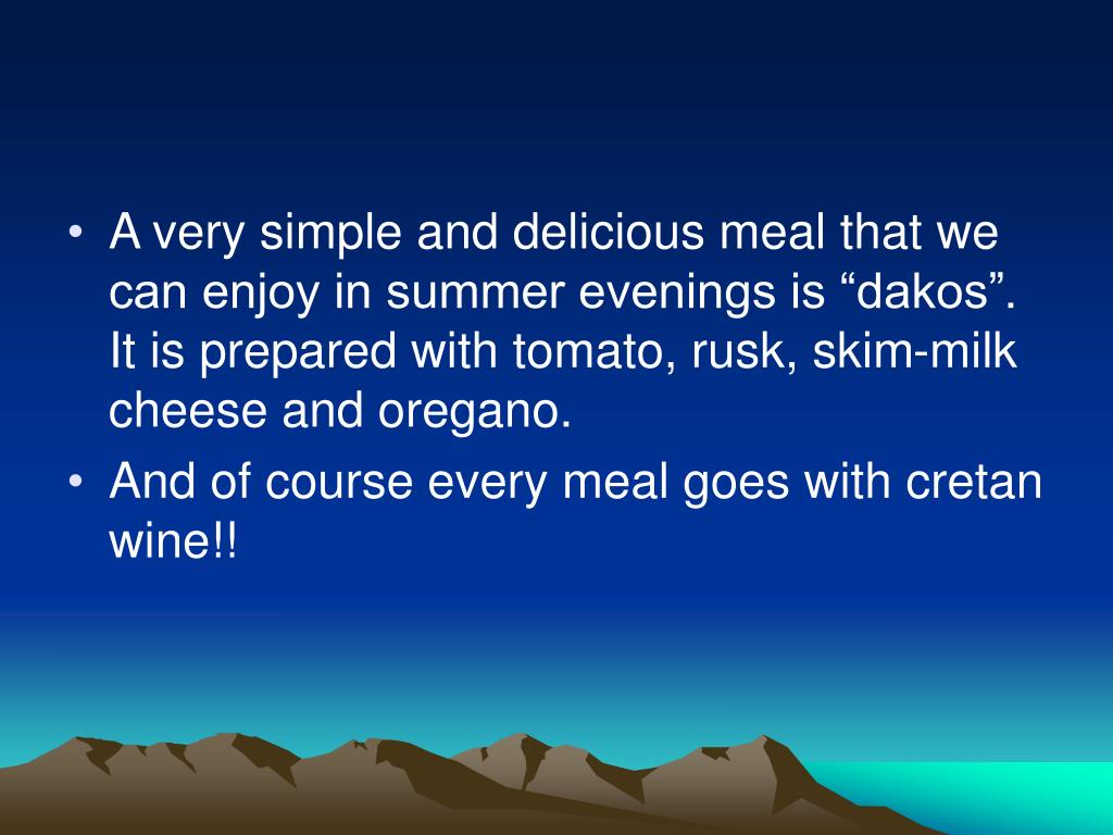 """A very simple and delicious meal that we can enjoy in summer evenings is """"dakos"""""""