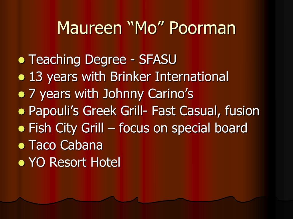 """Maureen """"Mo"""" Poorman"""