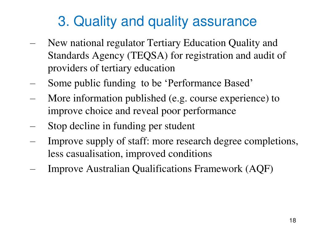 3. Quality and quality assurance