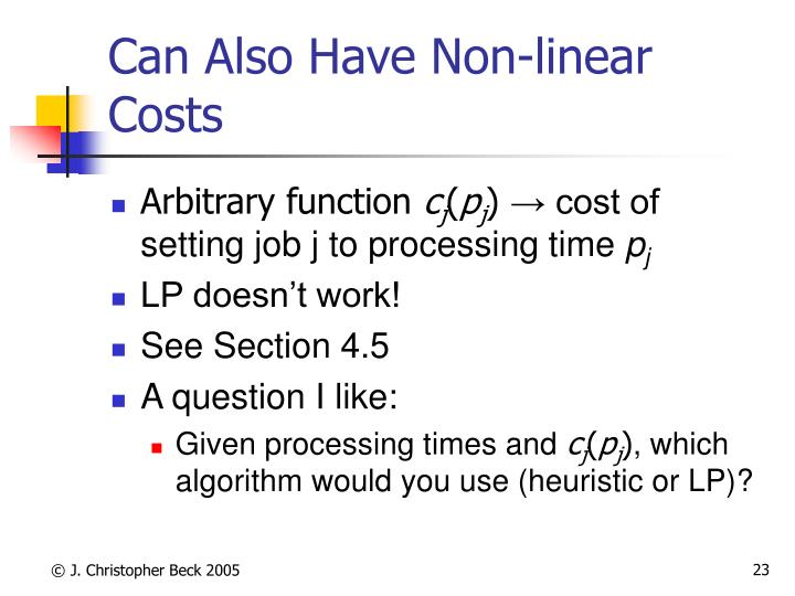 Can Also Have Non-linear Costs