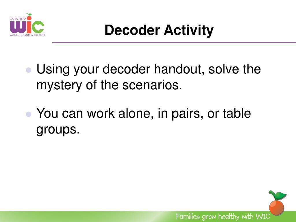 Decoder Activity